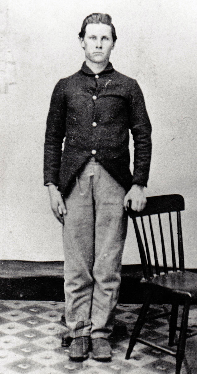 Pvt. Joseph Chadwick, Co. I, 82nd Ohio. Enlisted Nov. 5, 1861, Mustered out July 24, 1865. Wounded at New Hope Church, May 25, 1864. Wounded at Kolb's Farm, June 22, 1864. (Richard and Alma Fink Collection)