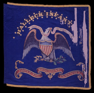 Regimental colors of the 146th New York Regiment. Carried during the campaigns of 1862-63. (New York State Military Museum and Veterans Research Center)