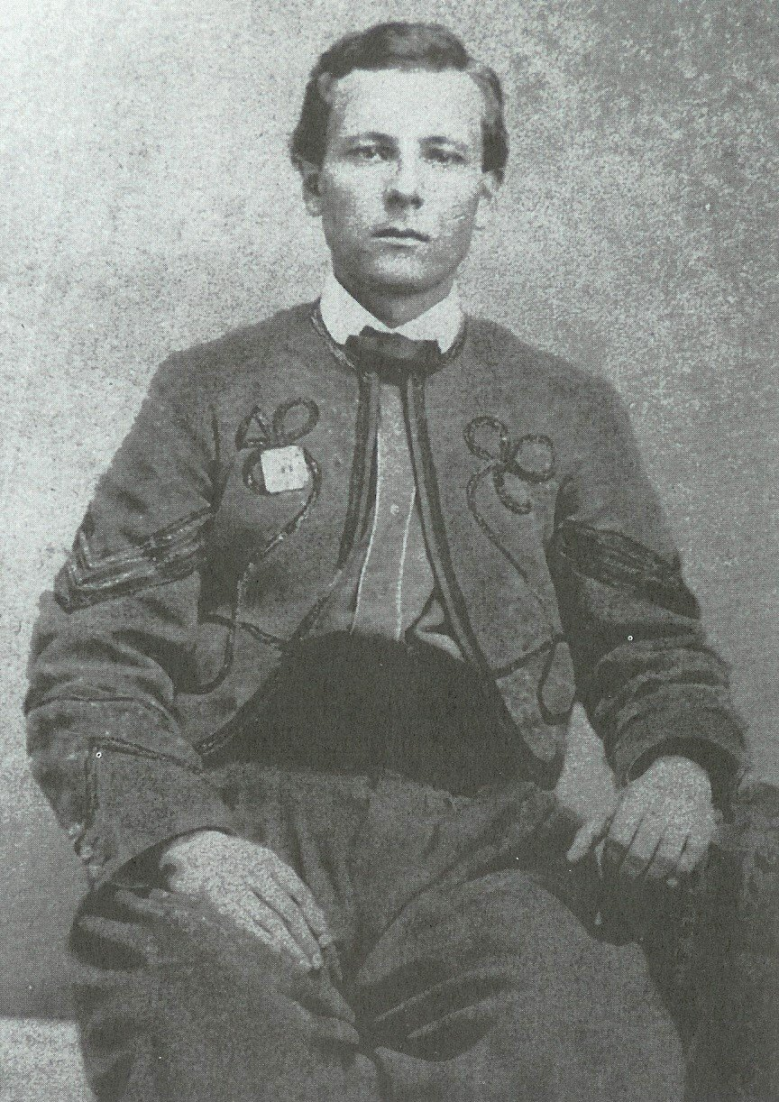 Sgt. Milo B. Kellogg of Co. I. Shown wearing Fifth corps badge, possibly of metal. The regiment wore red corps badges following the Mar. 1864 reorganization. (Brainard)