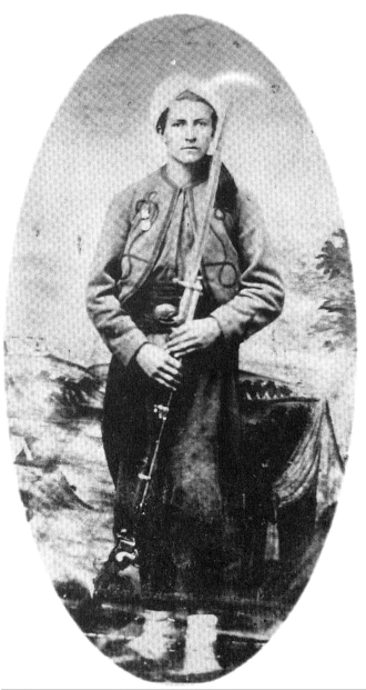 Cpl. Norton Shepard of Co. B. Also shown holding the 1859 Sharps Rifle with saber bayonet. (Brainard)