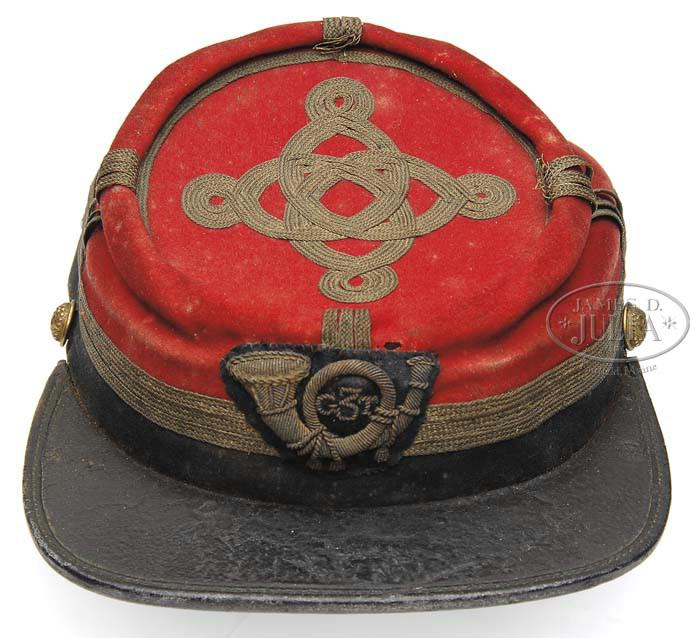 """Kepi of Capt. Joseph R. Cushman, Co. K. Embroidered infantry horn with """"G3T"""" possibly stood for """"Garrard's Tigers"""" of the Third brigade. (James D. Julia Auctioneers)"""