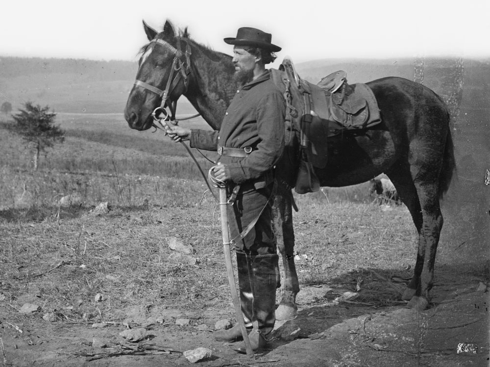 October, 1862.  A cavalryman at Antietam, Md. Even following the Maryland campaign going into mid fall, men still wear the dark blue pants issued to them. (LOC#: LC-B811-619)