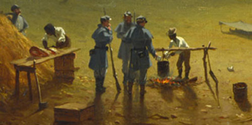 """Detail from """"The Camp of the Seventh Regiment near Frederick, Maryland"""" by Sanford Robinson Gifford (1863) (8)"""