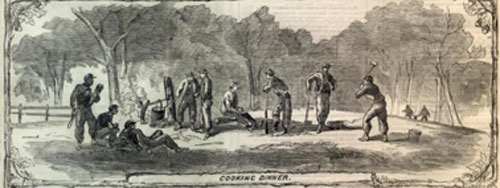 """""""Ellsworth's Soldiers in Camp"""" from Harper's Weekly: June 8, 1861 (9)"""