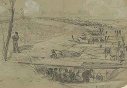 """Detail from """"Bivouacked in the rifle pits 5th corps"""" by Alfred Waud (July 1864) (11)"""