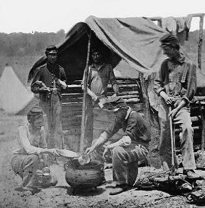 Camp of the 71st New York Vols., Cook House Soldiers Getting Dinner Ready (52)