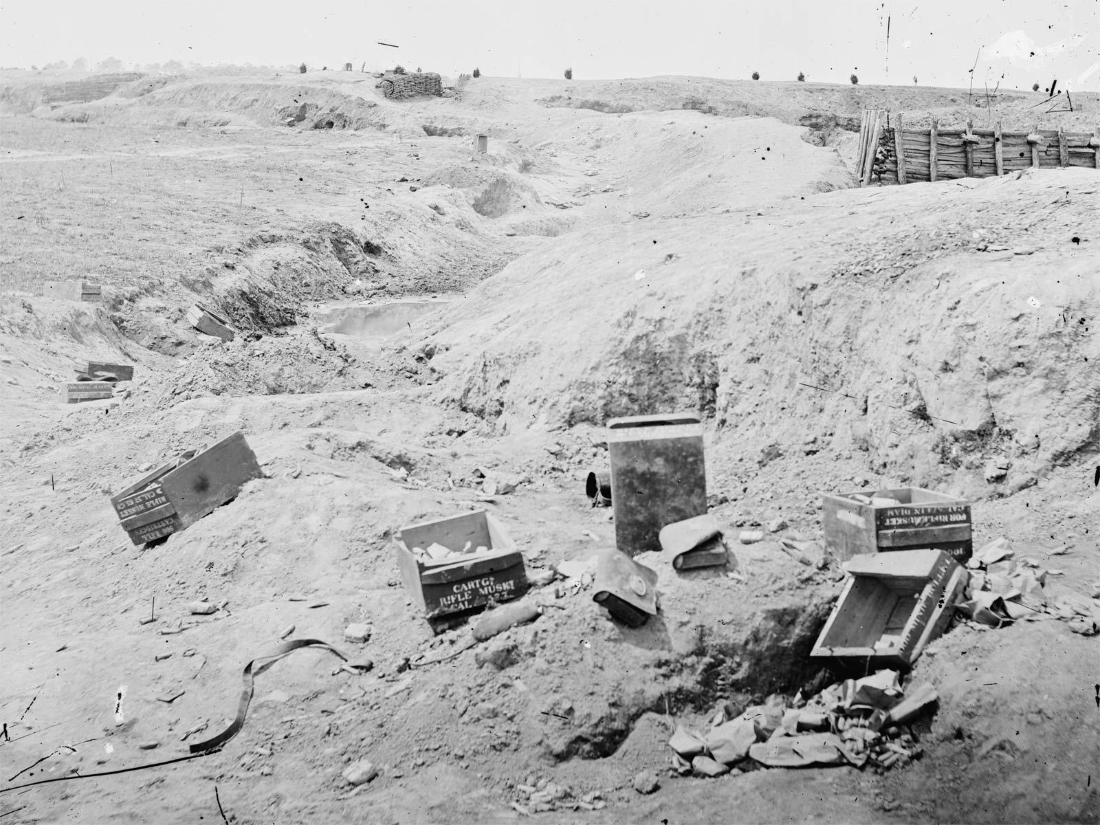 Ammunition crates litter the Petersburg battlefield. (Library of Congress)