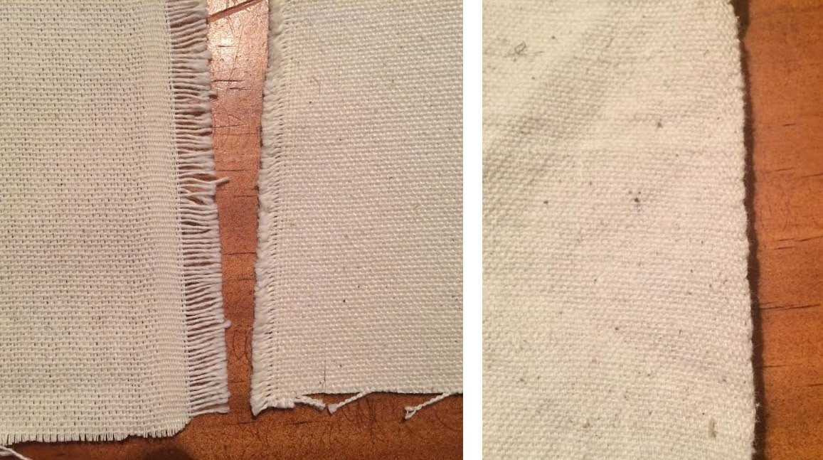 "The image on the left shows two different cotton ducks with a modern selvedge, typically indicated by varying degrees of ""frayed"" or loose cut weft yarns.  This edge should be removed or turned under when constructing any 19th century piece.  The fabric itself, however, is acceptable.  The image on the right shows a cotton duck woven with the type of bound selvedge that was characteristic of 19th century goods.  This selvedge should be retained and utilized in the construction of the Fly Tent."