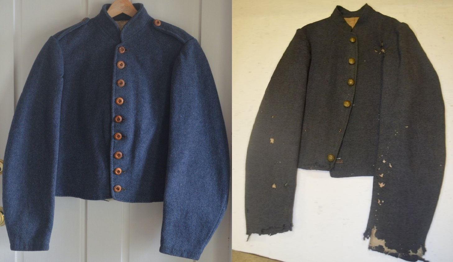 (Left) A typical Richmond jacket that was likely issued to a member of the 2nd Corps between April 30 and May 2, 1864, as the ANV prepared for the upcoming campaign. The jacket has both epaulettes and beltloops and Gibson & Co. wooden buttons. (Right) A Richmond jacket worn by a member of Pegram's Brigade in the autumn of 1863. This jacket has beltloops but the epaulettes were cut off by the wearer.