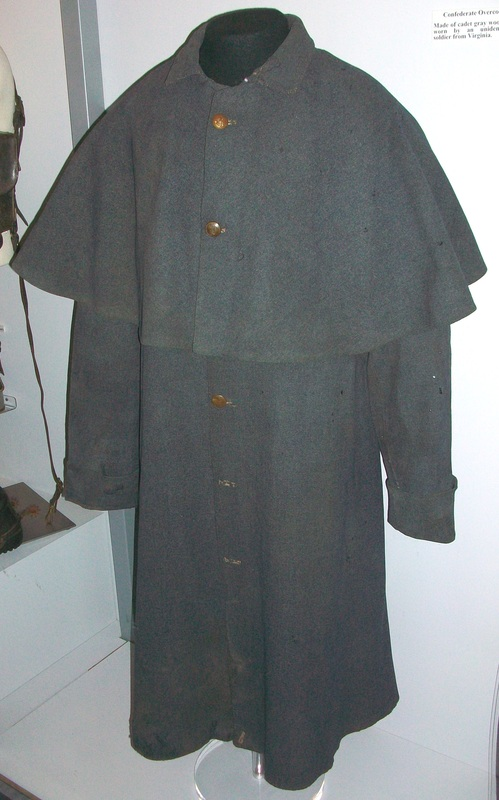 An imported blue grey kersey British overcoat of the type issued to some members of the 13th Virginia in the Winter of 1863-64.