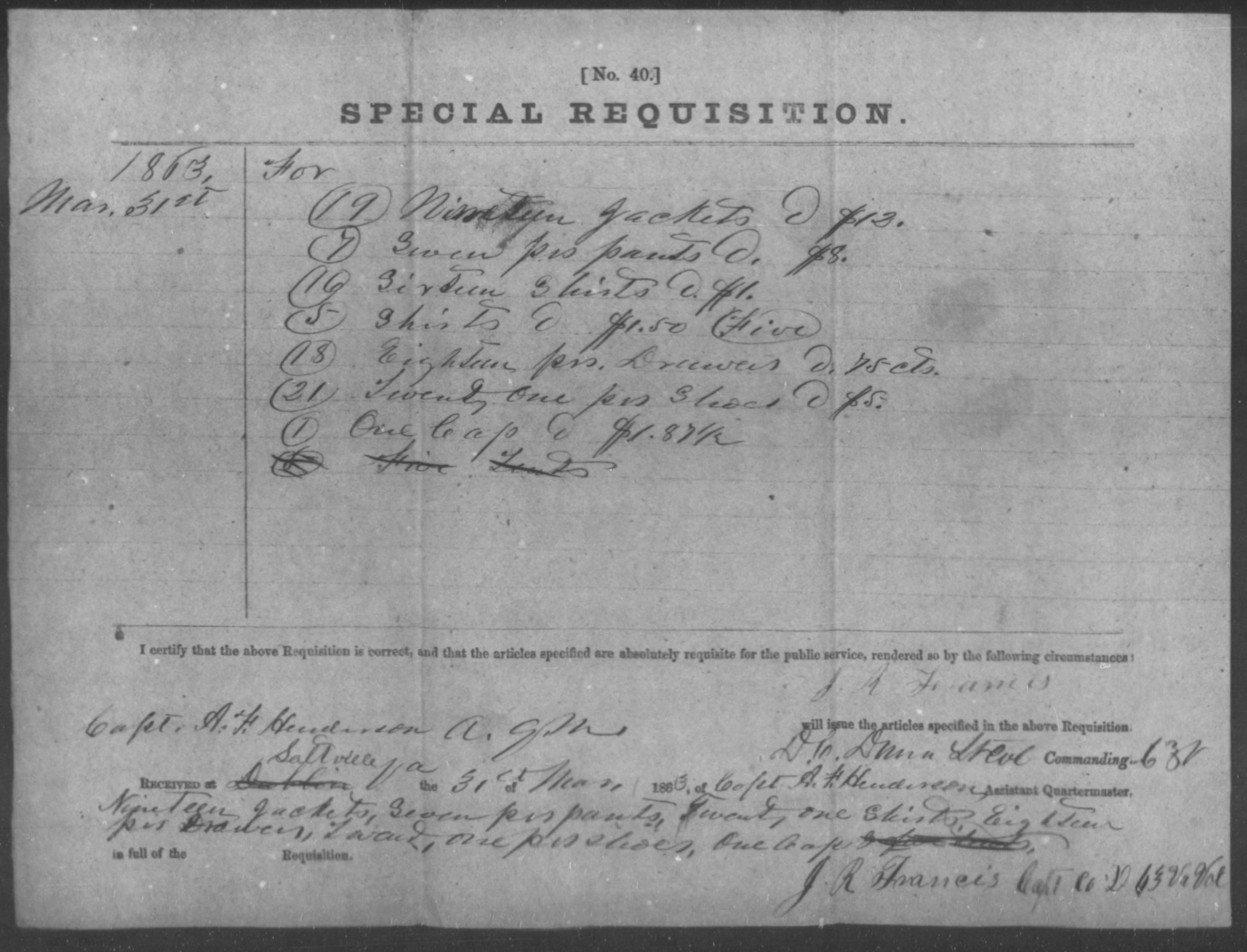Figure 6 - Issue to Co. D 63rd VA, 31 Mar 1863
