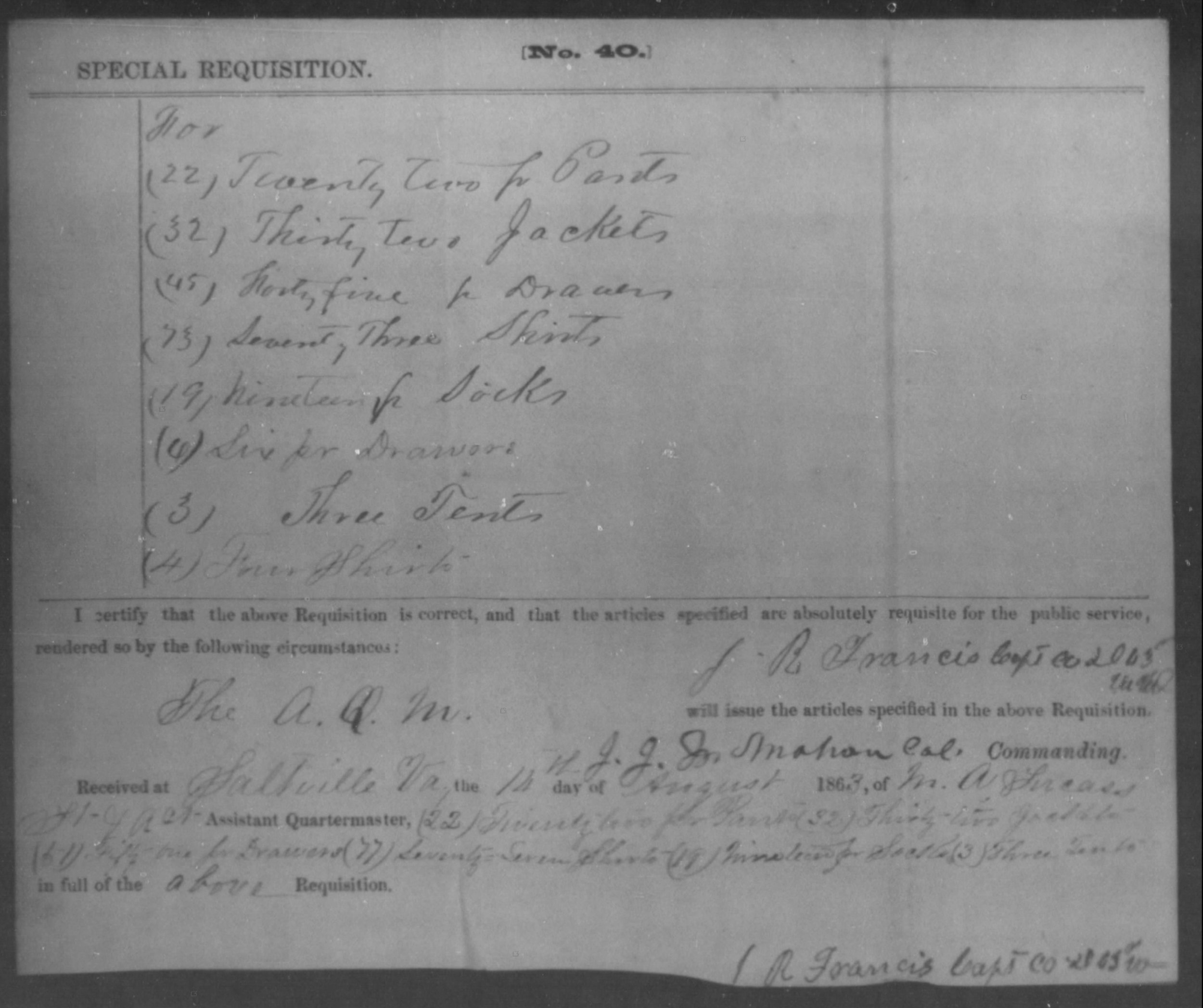 Figure 7 - Issue to Co. D 63rd VA, 16 Aug 1863