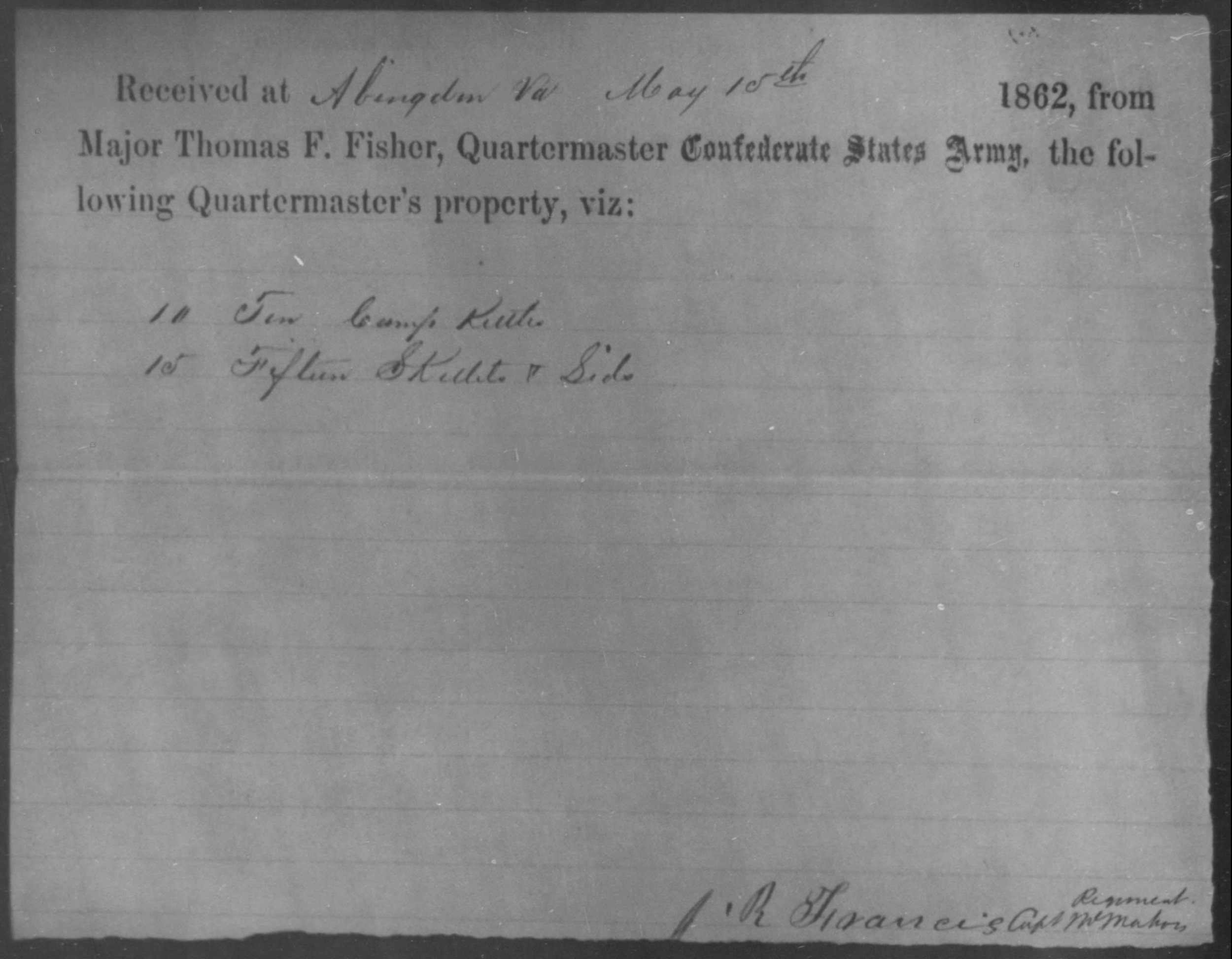 Figure 8 - Issue of QM supplies – Cooking utensils Co. D 63rd VA, 15 May 1862