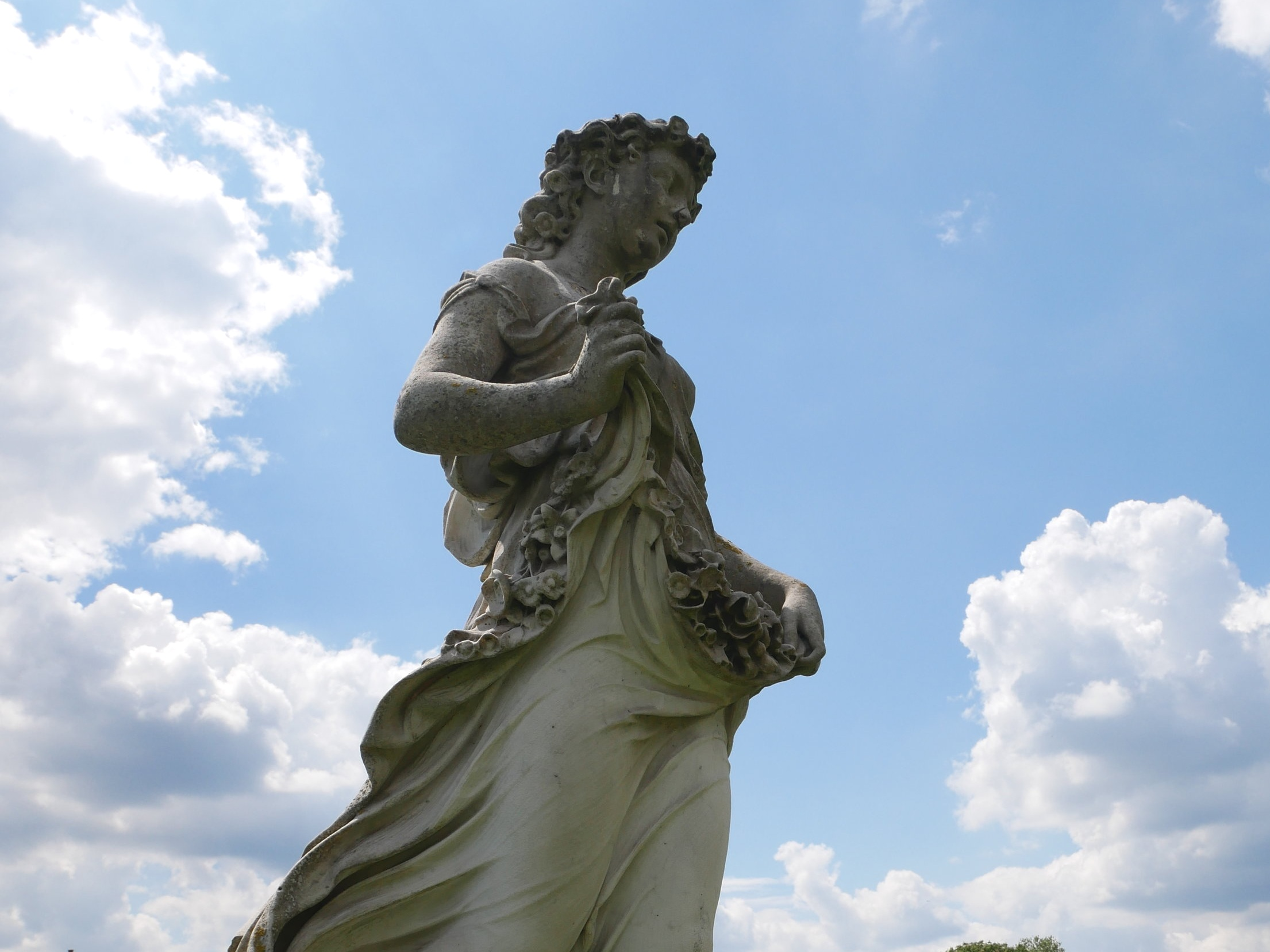 Flora - The goddess of the flowering of plants and the season of spring. Her festival, called the Floralia established in 238 BC. A representation of Flora's head, distinguished only by a floral crown, appeared on coins and her name survives in the botanical term for vegetation of a particular environment.