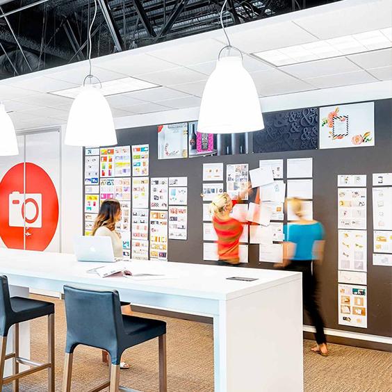 collaborative table and ideas wall at Shutterfly's Santa Clara office