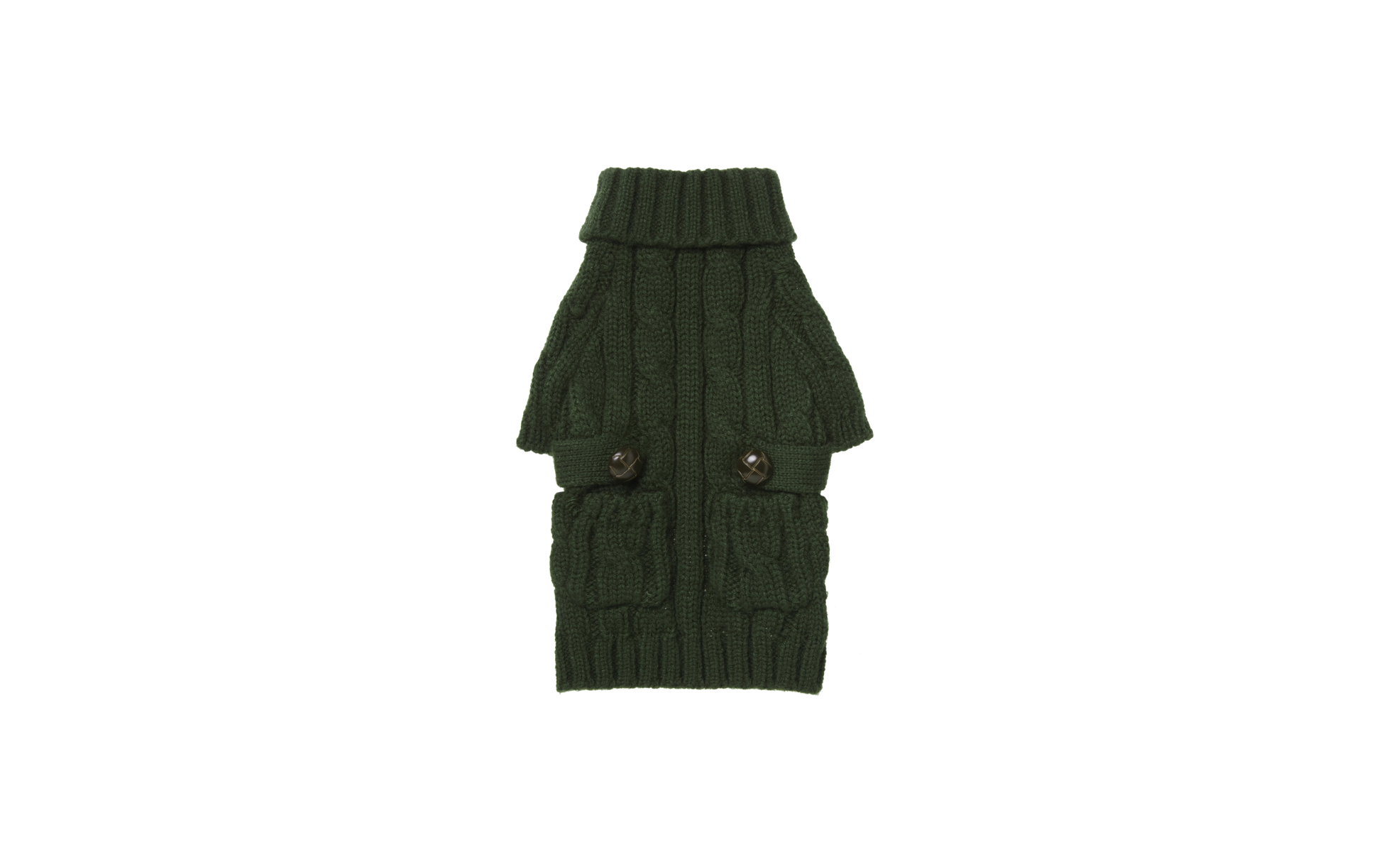 Pocket Cable Knit Green Sweater