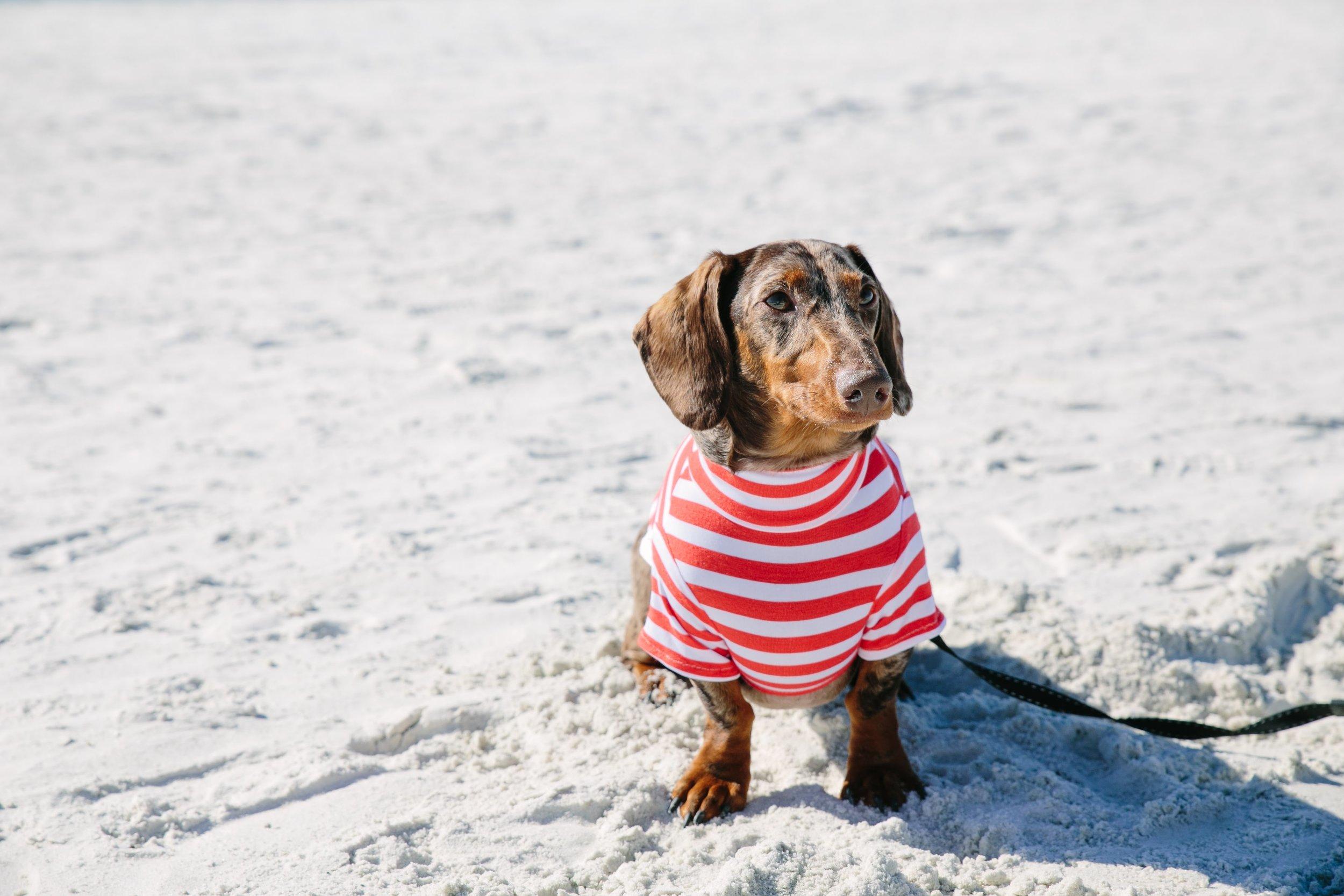 Rocking some nautical stripes on the beach