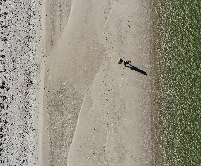 Walking on Foster Memorial Beach (via Drone)