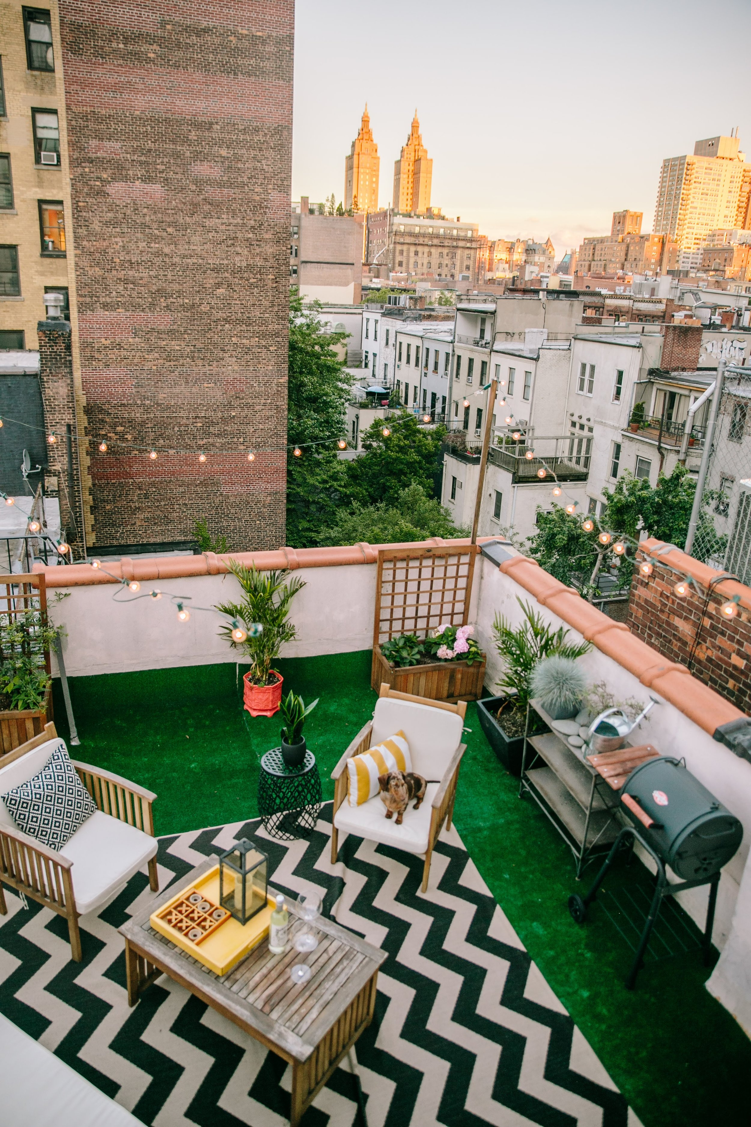 Our little roof deck where the pups love to play