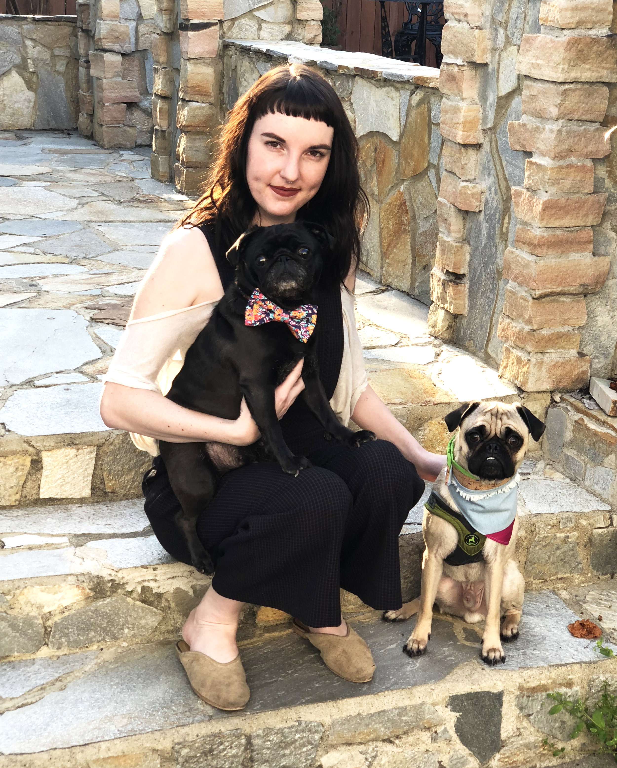 Carlin Traxler with her pugs, Ophelia and Mo