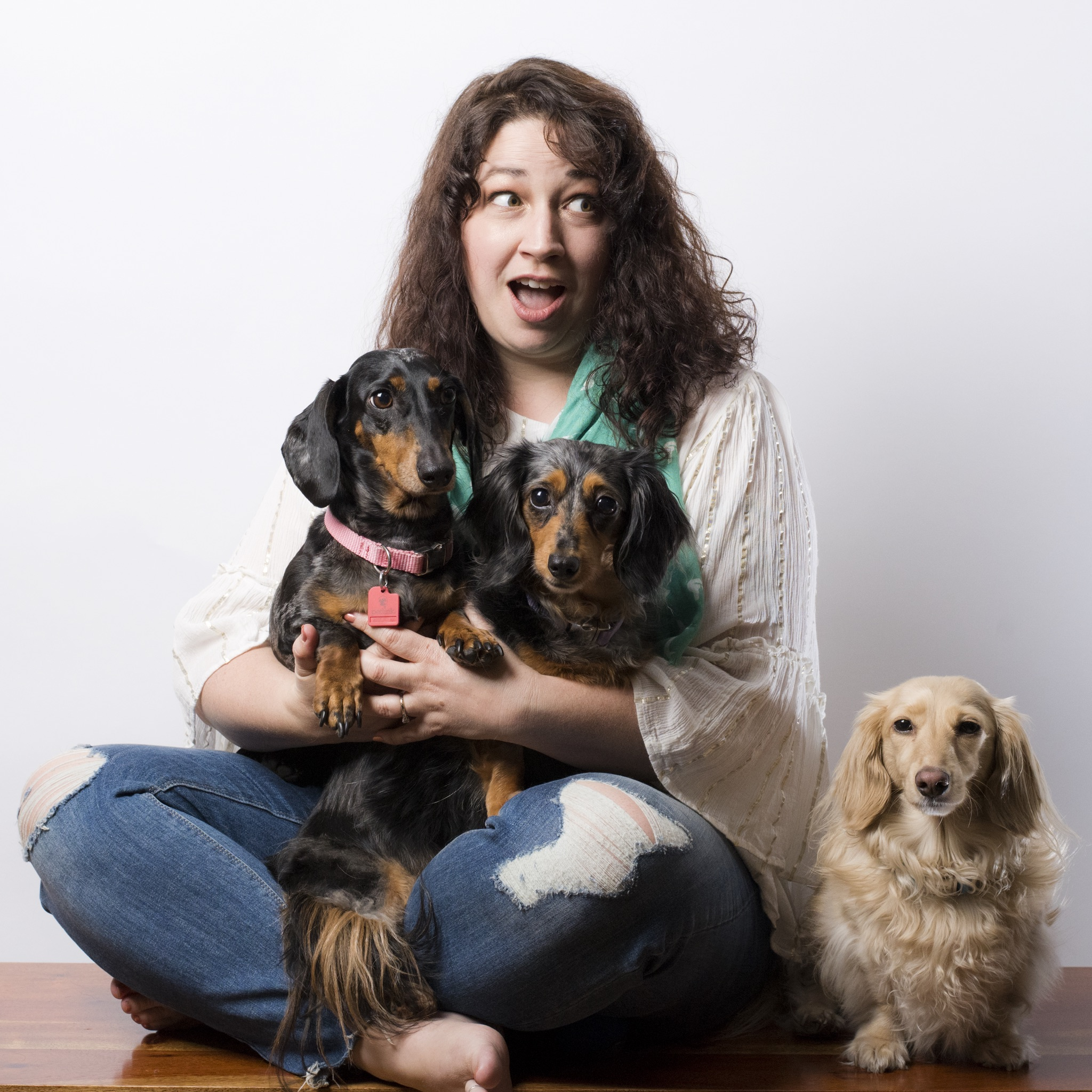 Jen with Butters, Noodle, and Havarti