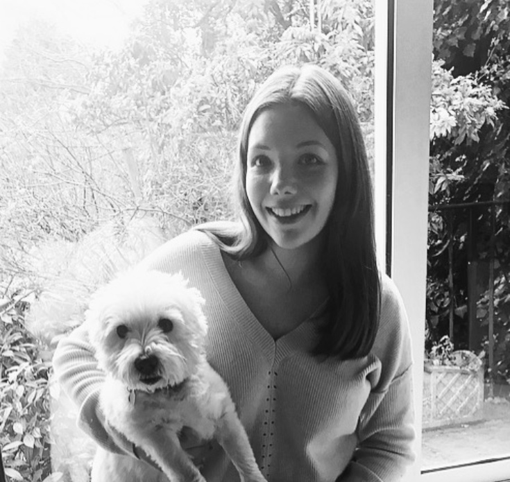 Clare Hopkins of Florence & Ottie with her dog, Maisie.