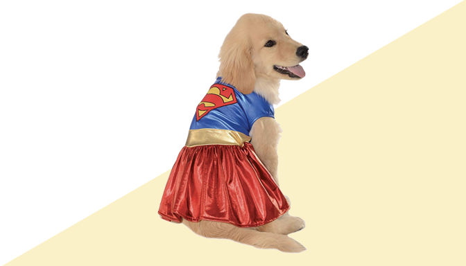 Supergirl Dog Halloween Costume from Amazon