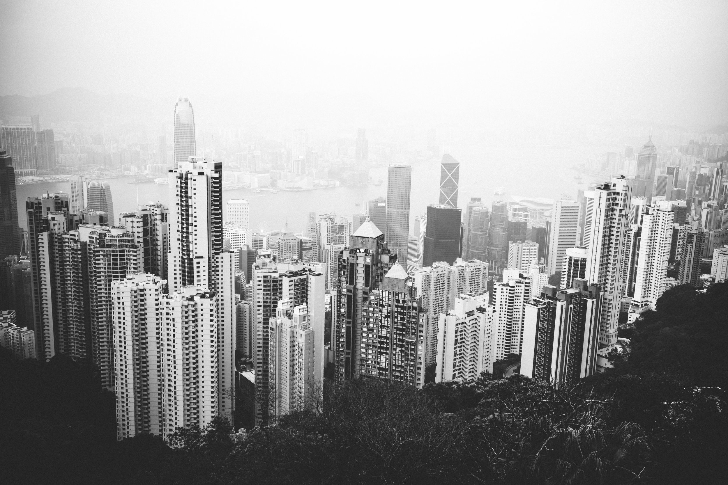 The view from Victoria Peak looking down onto Hong Kong and Victoria harbour - an incredible site