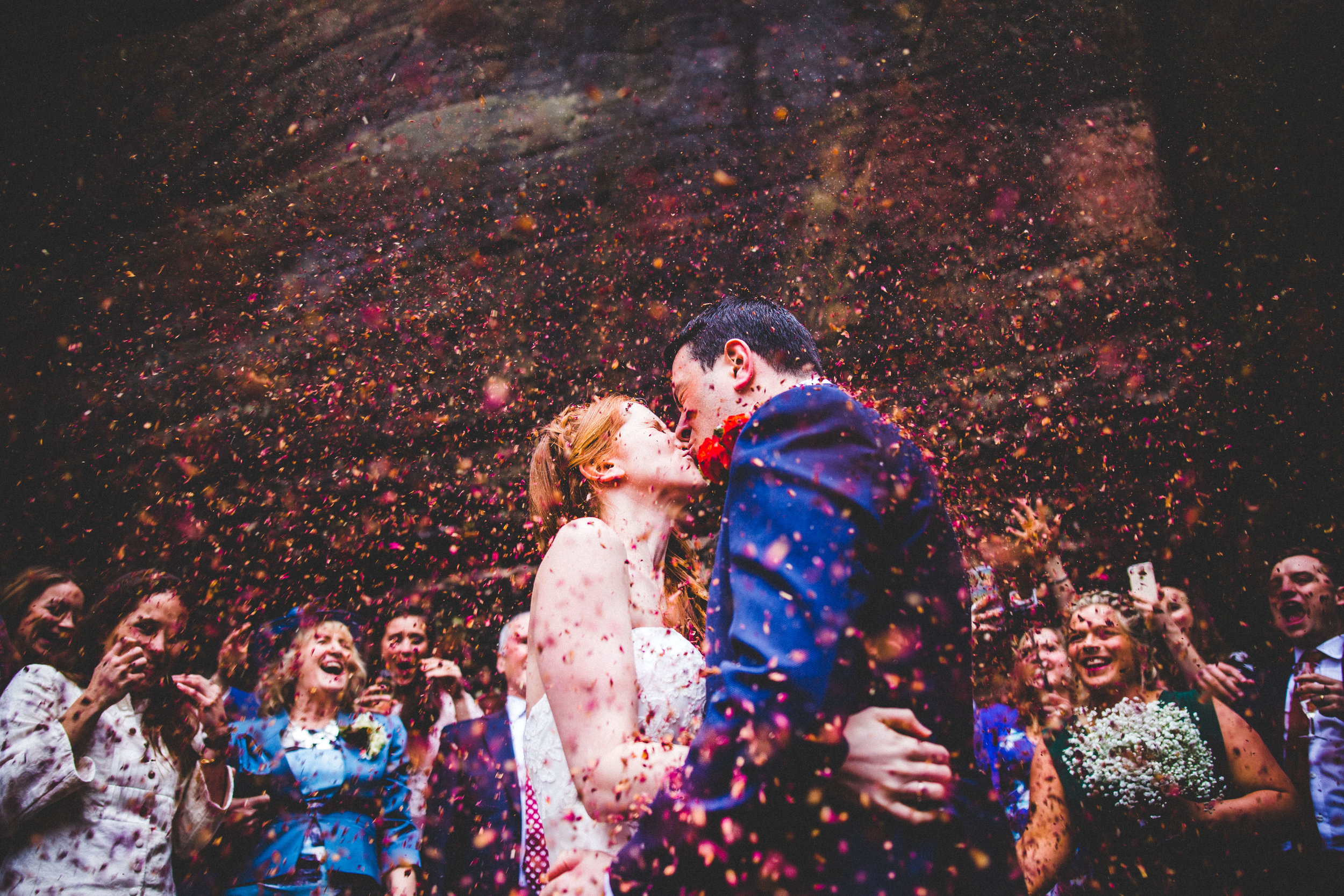 Epic confetti at High Rocks in Kent