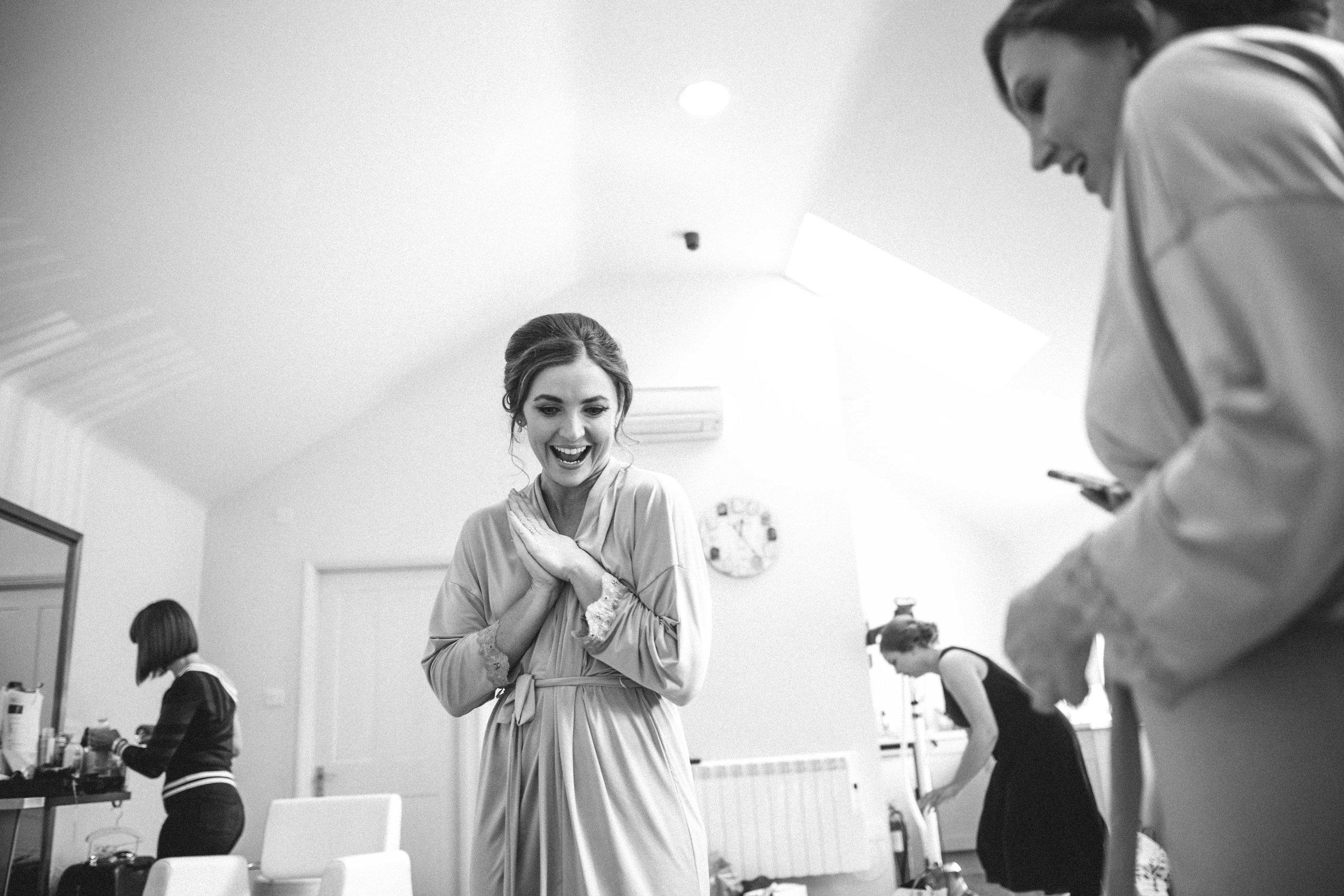 Happy bridesmaid at Winters Barns