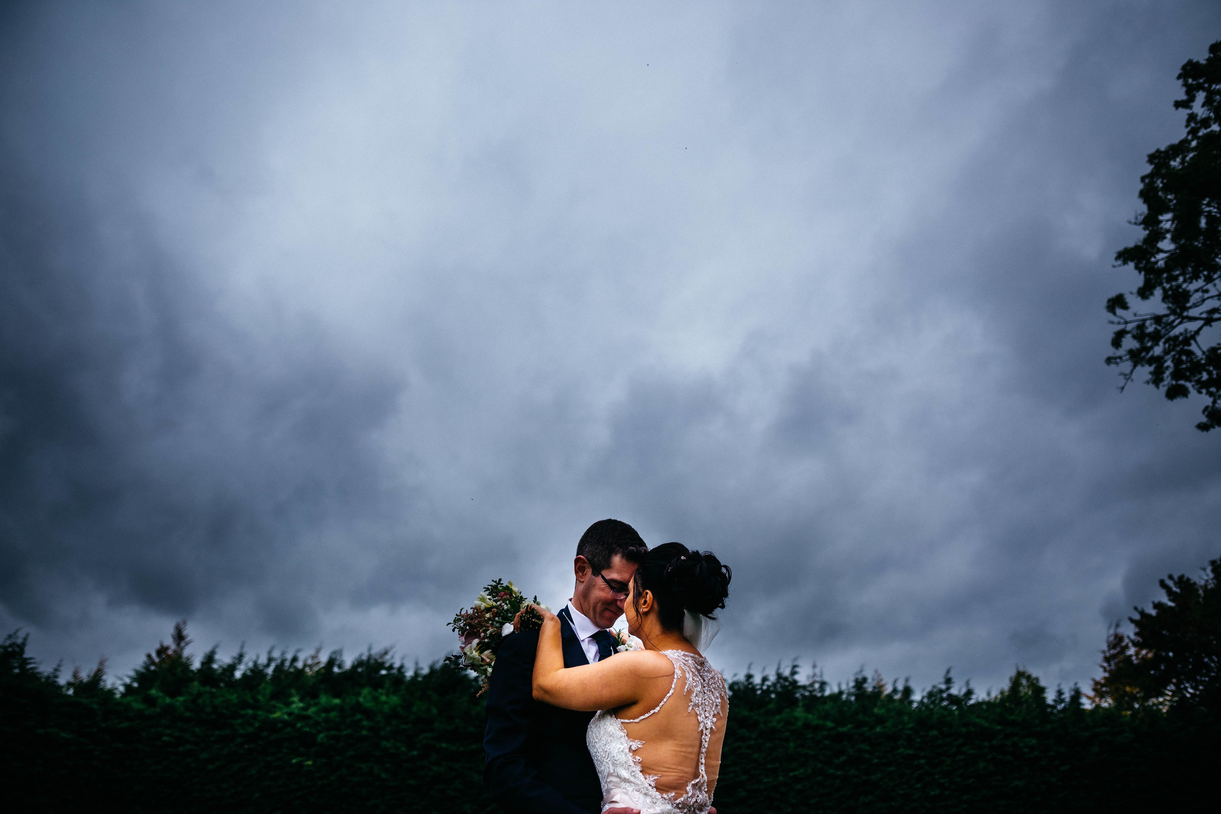 The bride and groom at Winters Barns