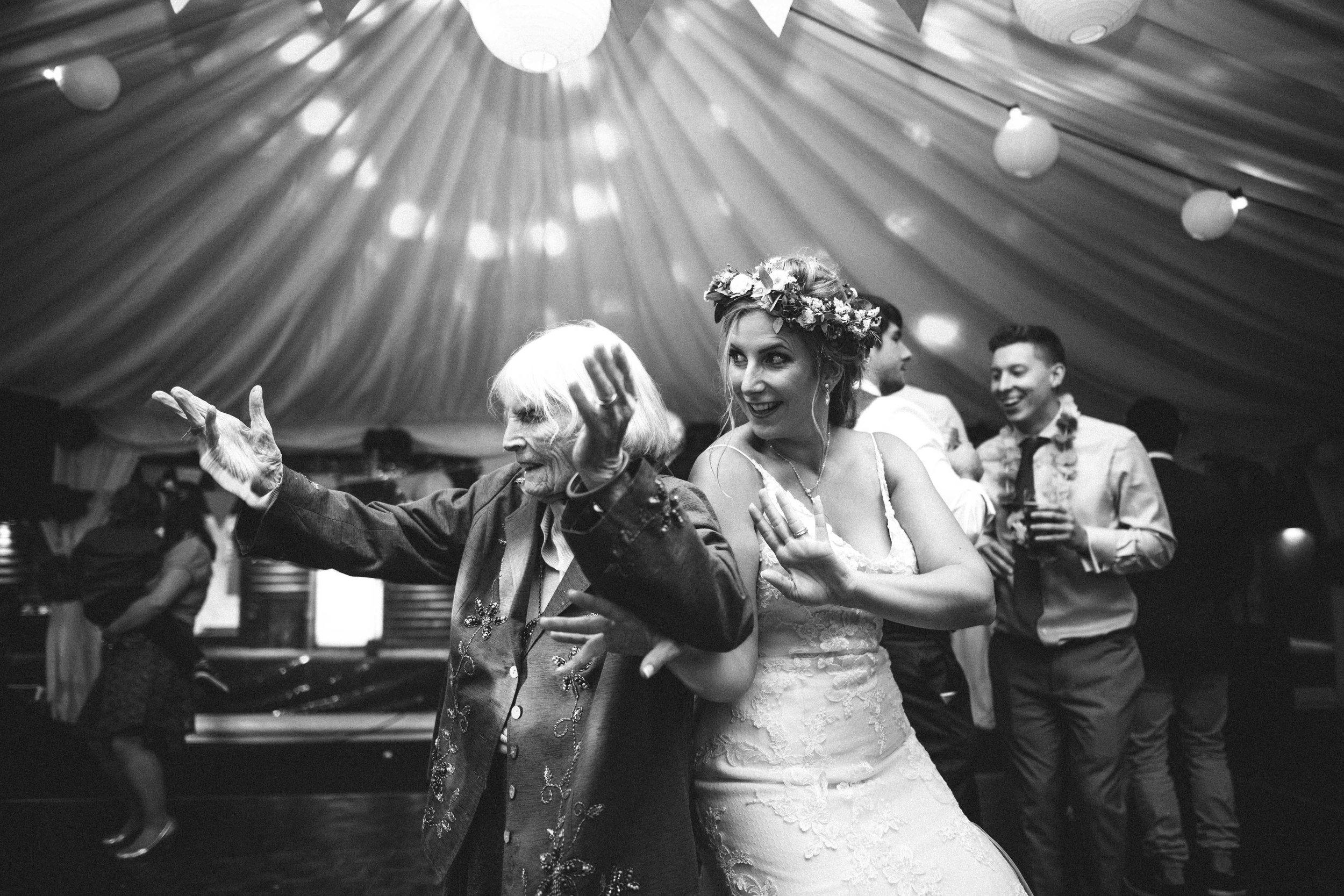 Fiona and her nan dancing.