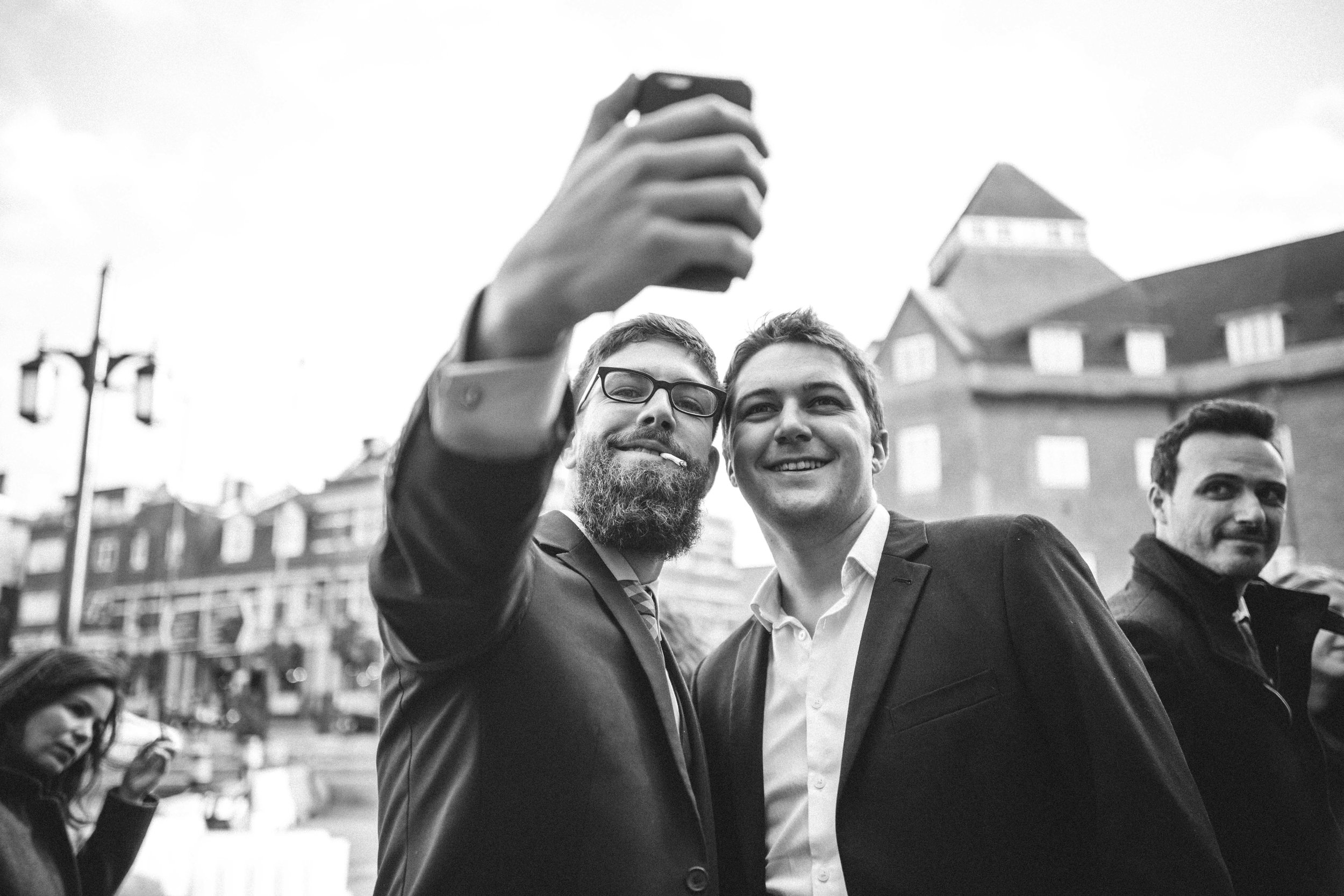 Wedding guests Selfie and a fag