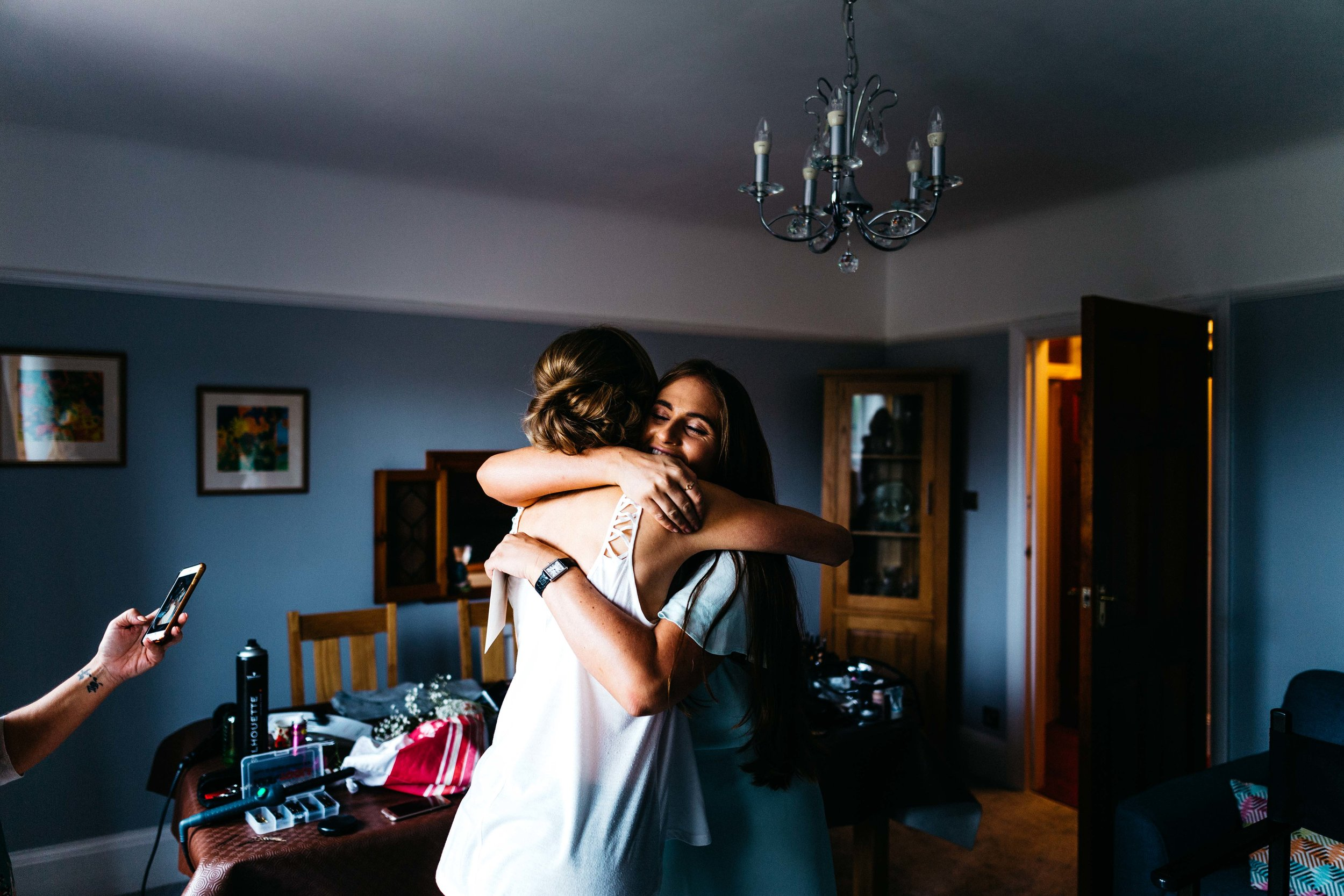Pre-wedding hug