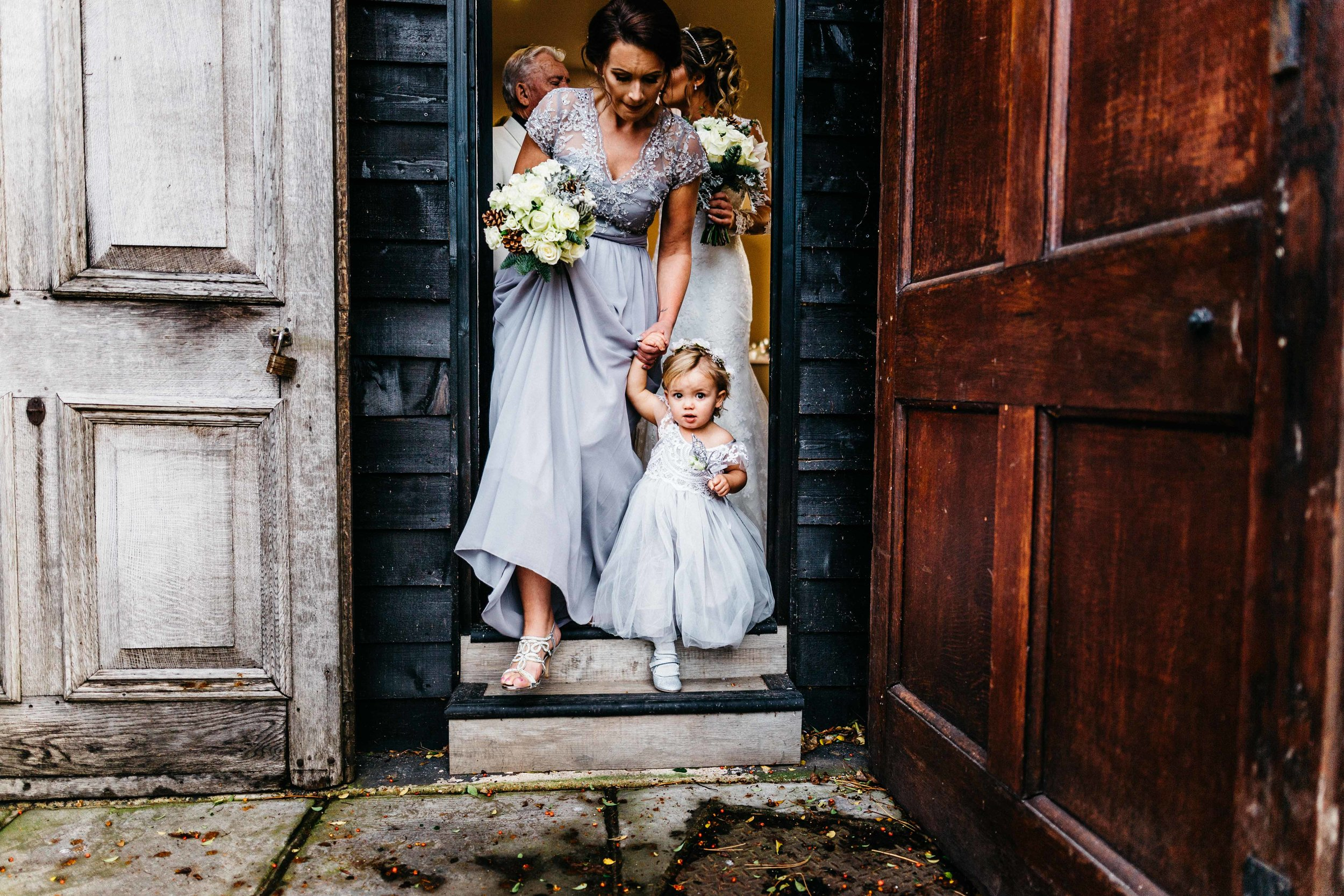Show time for the flower girl at Winters Barns