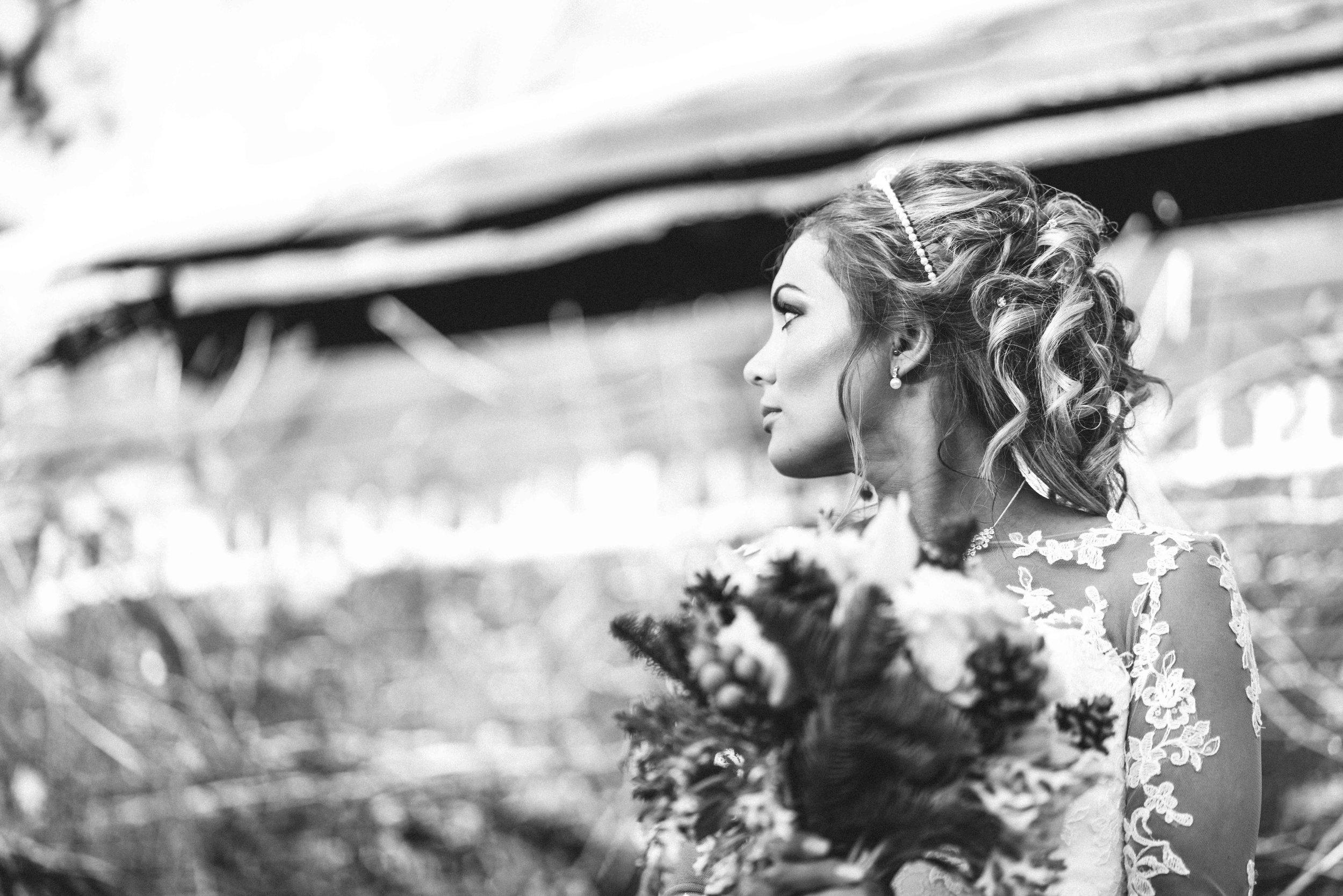The bride at Winters Barns