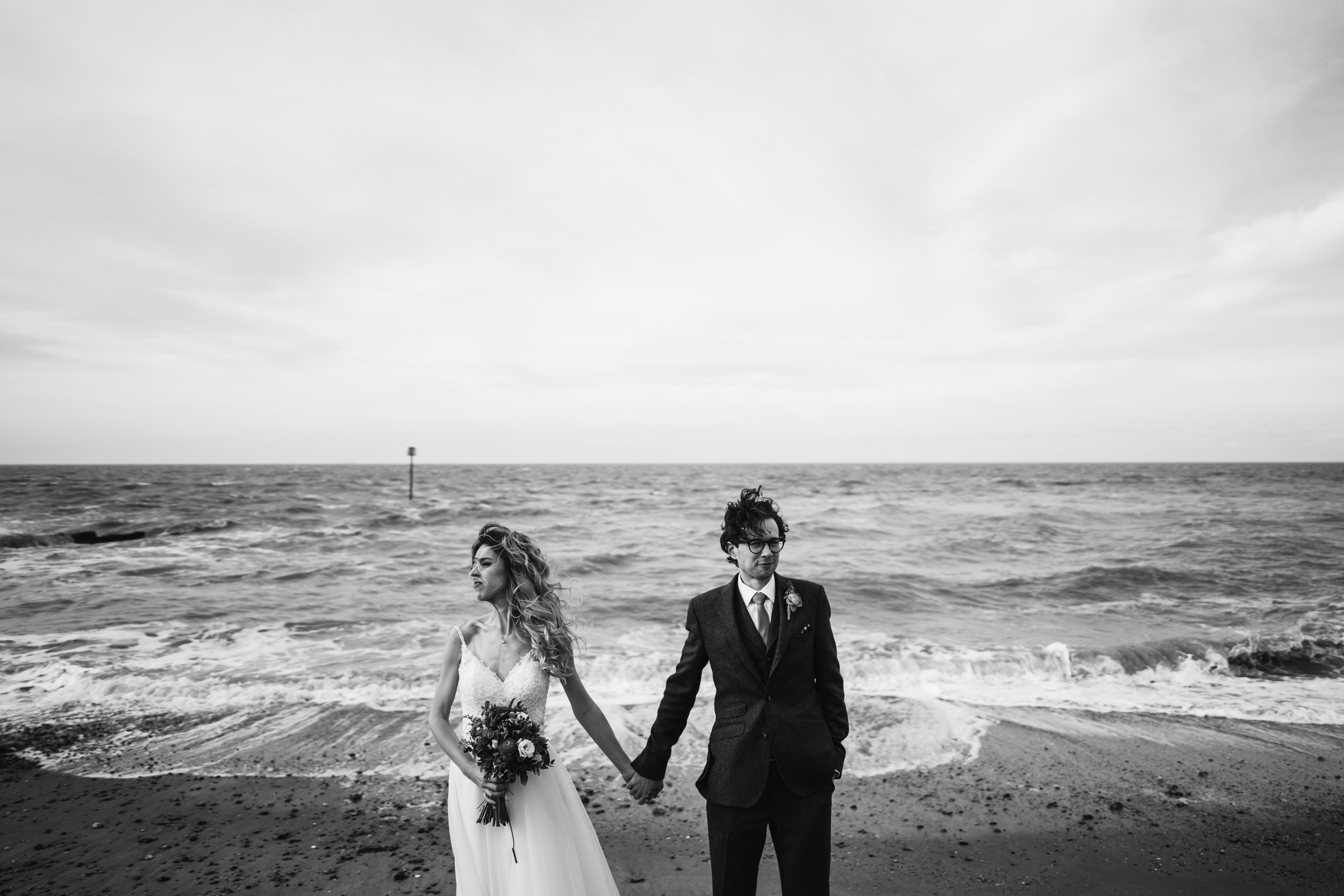 The bride and Groom at East Quay wedding venue in kent