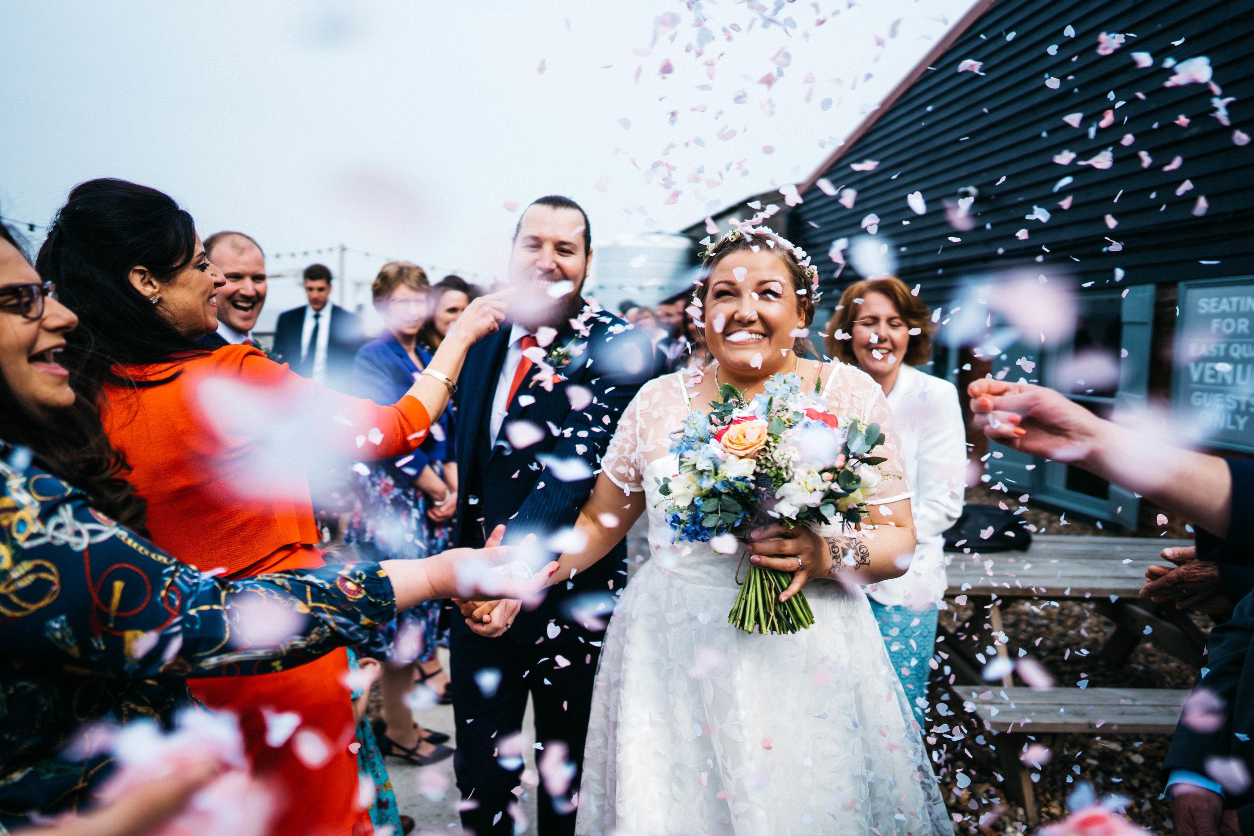 Confetti at the East Quay Wedding Venue