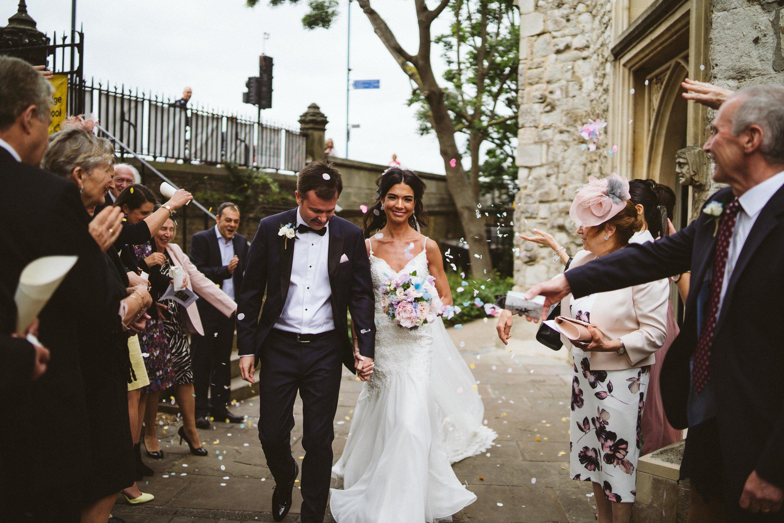 Confetti at Putney Wedding