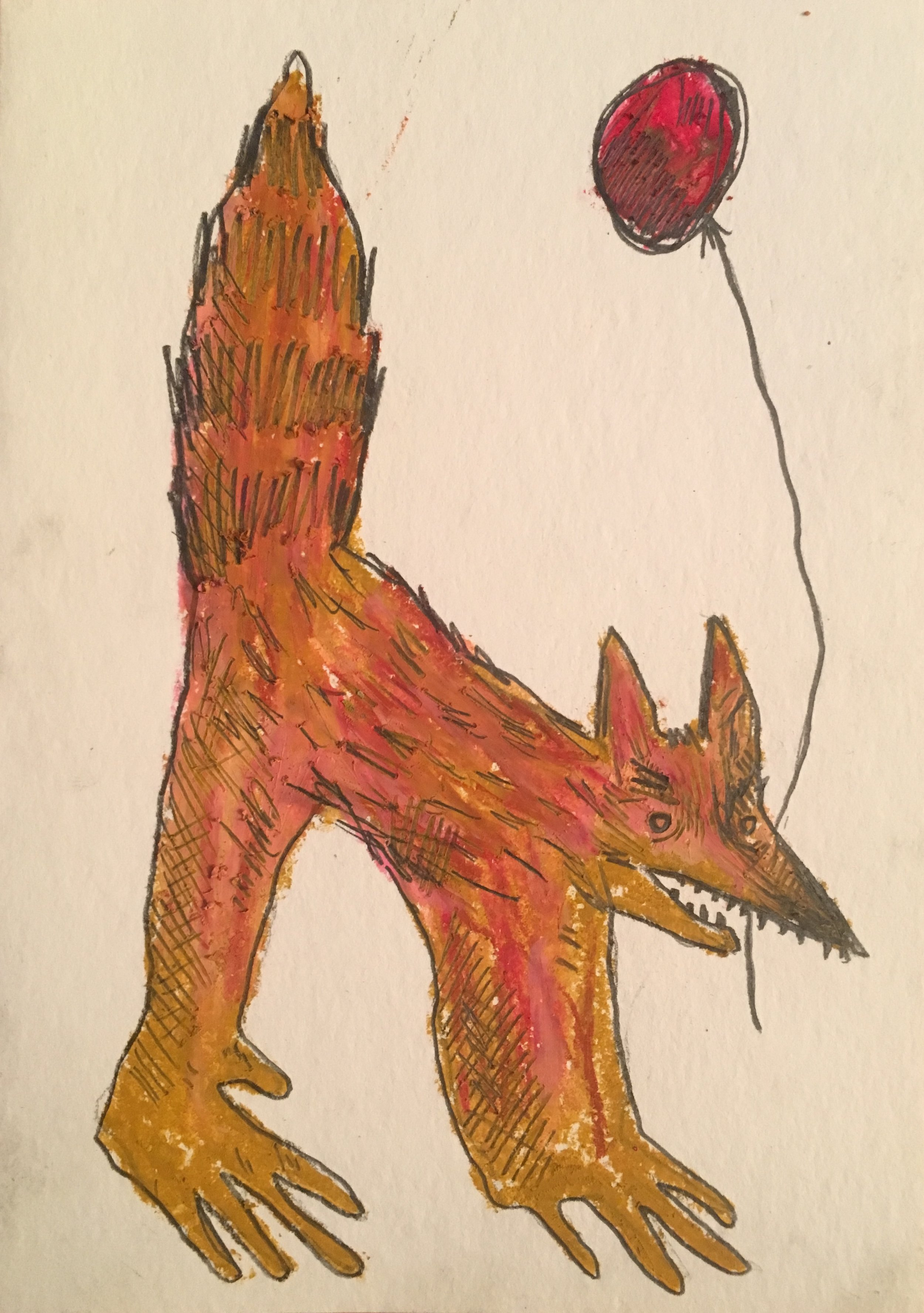 Angry Dog With Balloon (2018)  Oil Pastel and Pencil  5x9in