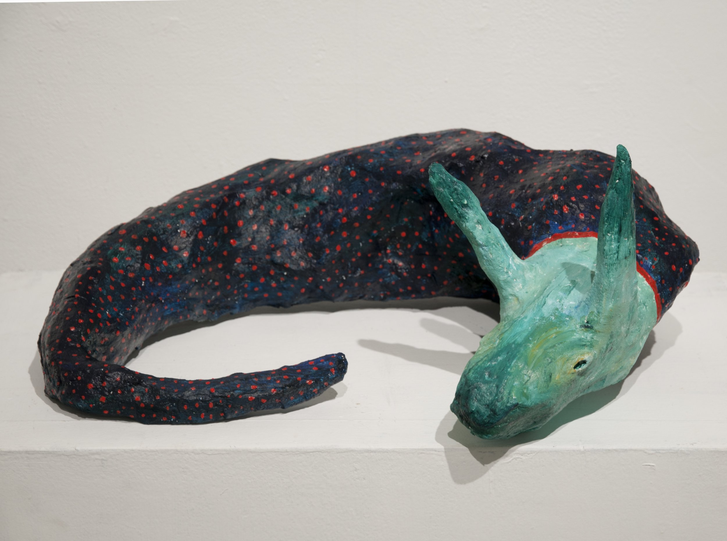 Sea Monster (2018)  Paper mache and needle felted wool.