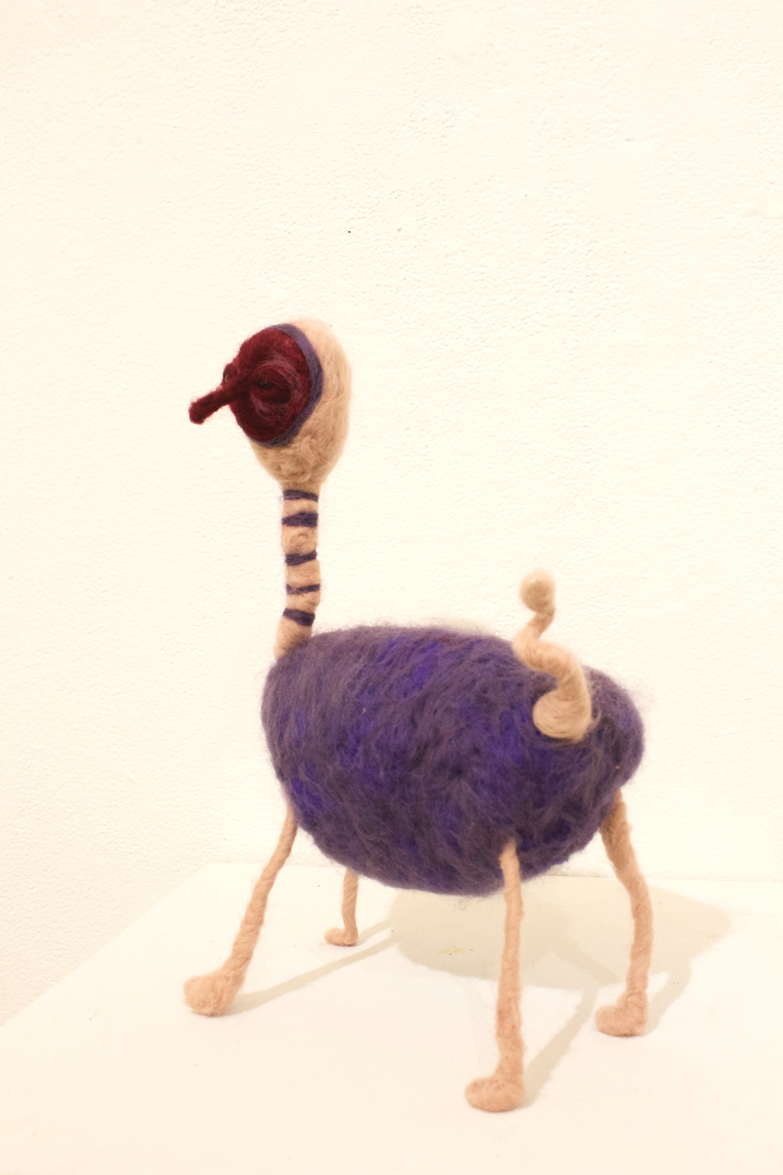 Ostrich I Suppose…. (2019)  Wool roving, wire, polyfil