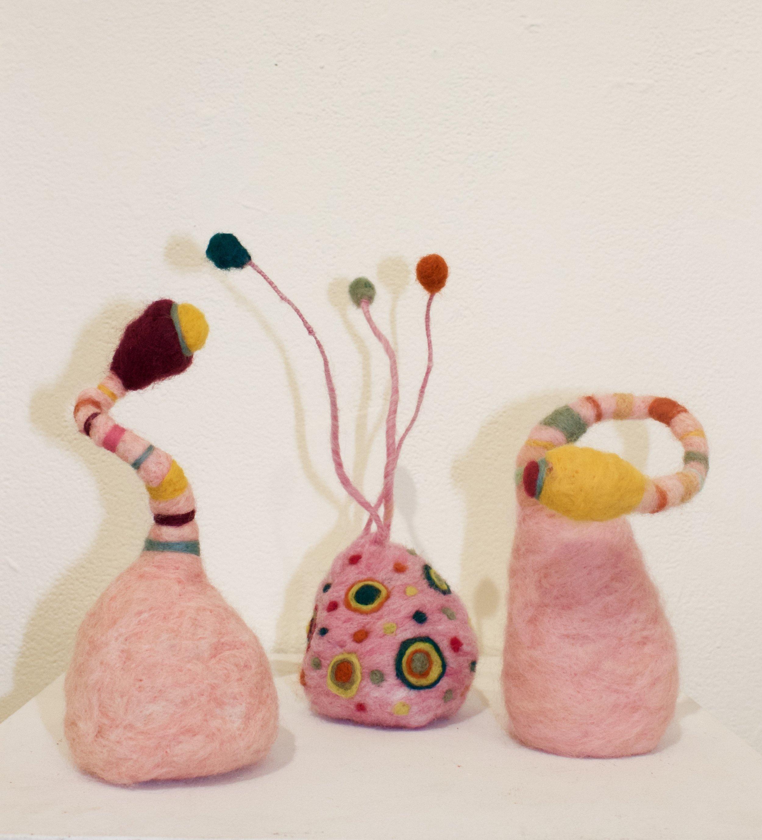 3 Pink Plants, Joyous  Wool roving, wire, polyfil