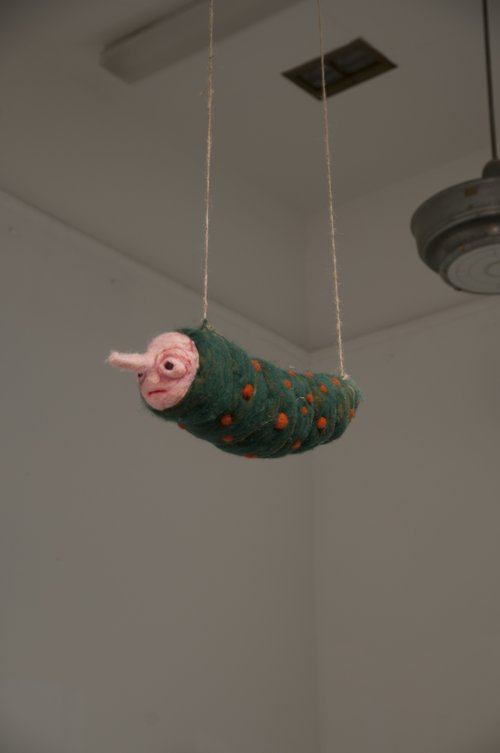 Squirm (2018)  Paper mache and needle felted wool.
