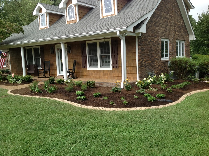 In conventional landscaping, landscape fabric, which then is covered with mulch or rock,is used to prevent weeds from coming up. Unfortunately, covering the earth around perennials is deleterious to the plant. If the landscape fabric was not installed, the exposed soil between all the plants would invite weed habitation.