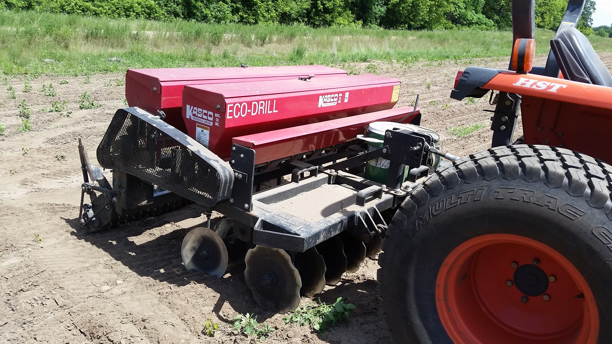 Seeding prairies requires specialized equipment, such as no-till drill seeders. We use the Kasco Eco Drill for smaller, lower, and wetter projects (see above), and a Great Planes no-till drill for CRP seeding and larger projects.