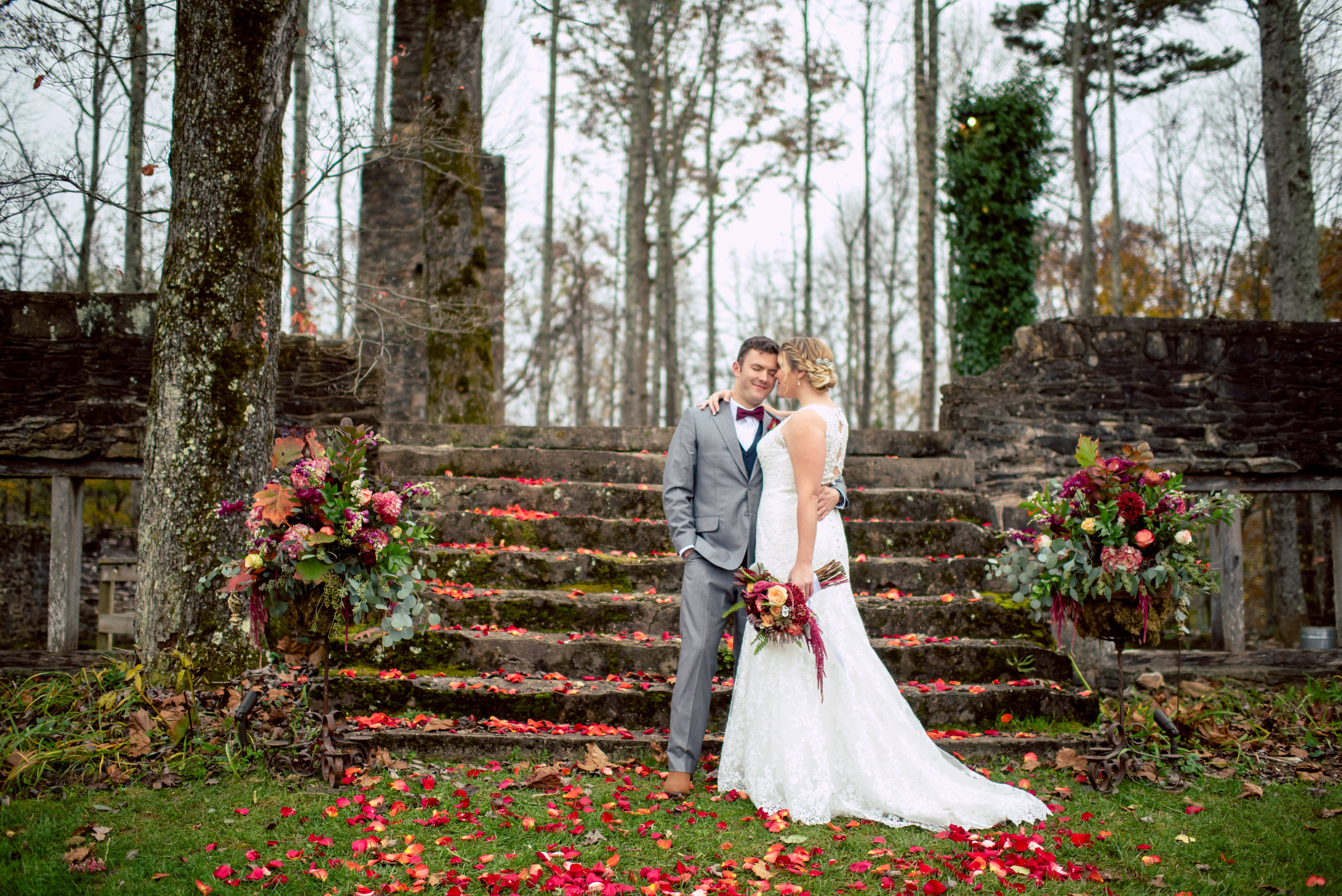 A Romantic, Jewel Toned Fall Wedding at The Ruins. | Flowers by Flower Buds. Picture by Once Like a Spark Photography. Venue The Ruins at Kellum Valley Farm