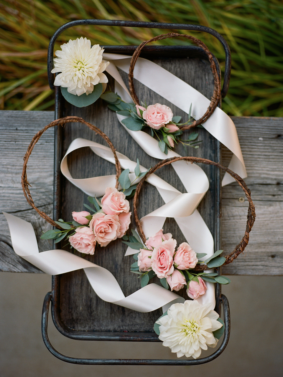 Delicate Floral Crowns for Flower Girls.   Flowers by Flower Buds. Photo by Davy Whitener Photography. Venue The Ruins at Kellum Valley