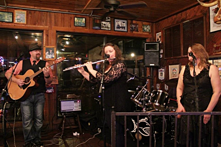 Thawind Mills (left), myself in the middle, and Catherine Grimes (right) at the CD Release for Halo or Horns. November 22, 2014