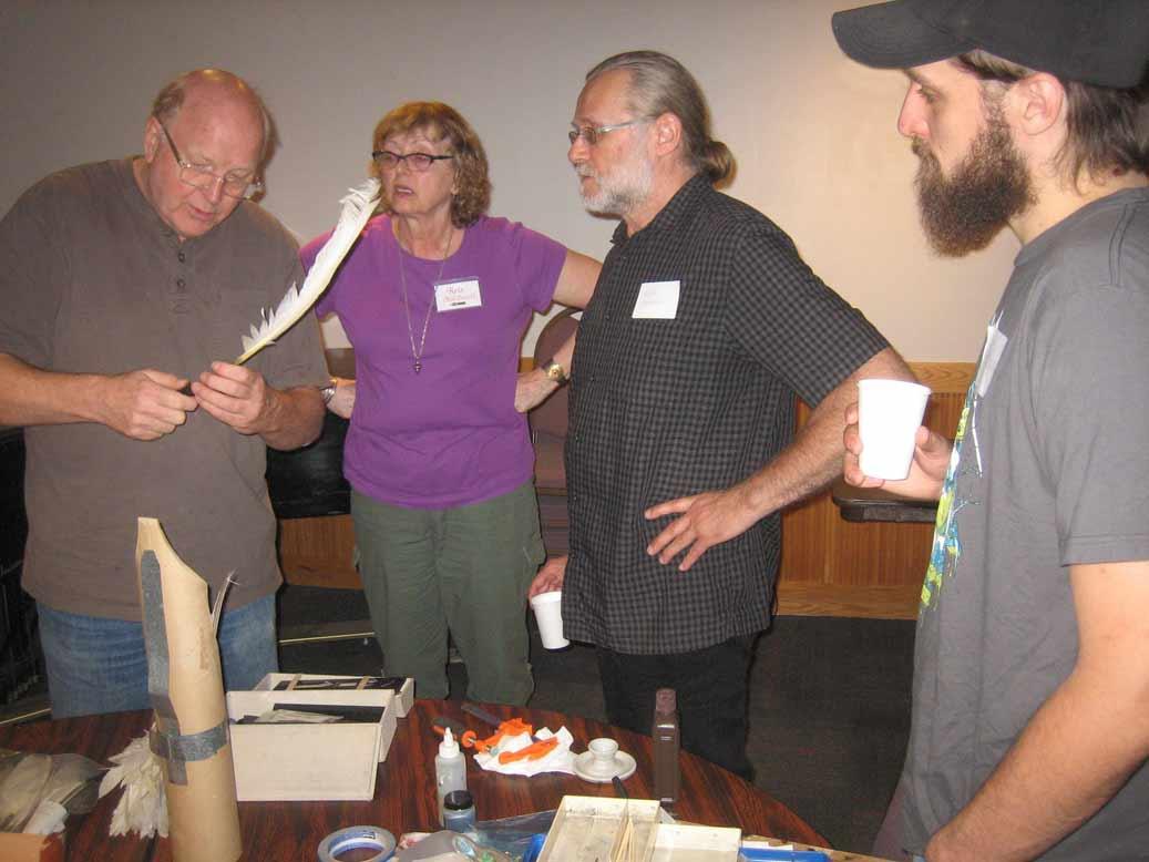 Denny Rudd demonstrating quill cutting